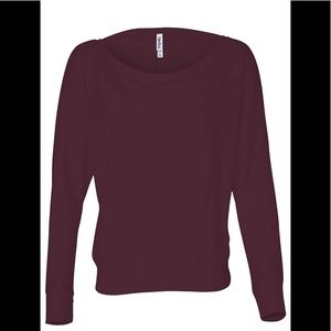 Dolman maroon TOP off shoulder relaxed fit